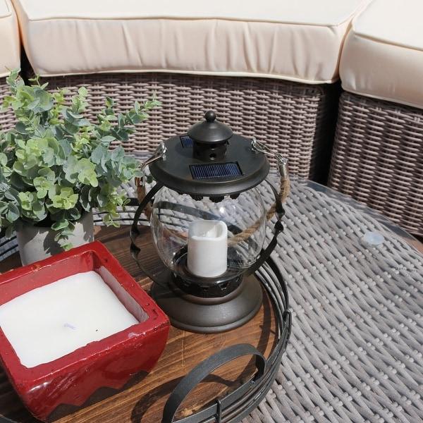 Sunnydaze 14 Inch Outdoor Glass Globe Solar Lantern with Candle & LED Light