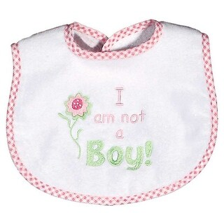 """Raindrops Baby Girls """"I Am Not A Boy"""" Embroidered Bib, Pink - One size"""