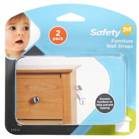 Safety 1St 11014 Furniture Wall Strap, White, 2-Pack