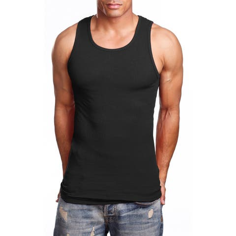NE PEOPLE Men's Comfy Ribbed Knit A-Shirts Undershirts Tank Tops S-5XL [NEMT105]
