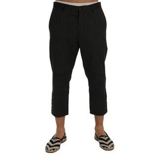 Dolce & Gabbana Gray Striped Stretch Capri Pants - it48-m