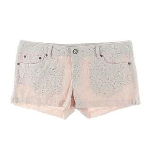 Indigo Rein Womens Juniors Casual Shorts Lace Flat Front