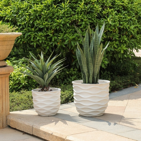 Kayu 2-piece Wavy Design White MgO Planters by Havenside Home. Opens flyout.