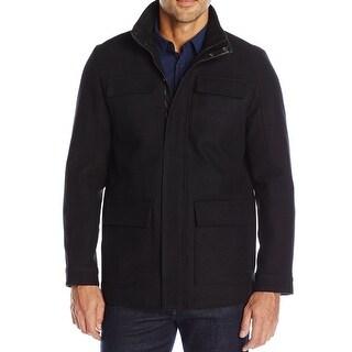 Calvin Klein NEW Black Mens Size Large L Wool Four-Pocket Coat