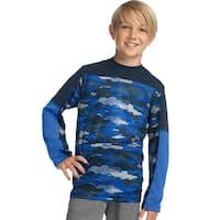 Hanes Sport™ Boys' Long Sleeve Pieced Tech Tee - Color - Fast Dash Camo/Navy/Surf The Web - Size - S