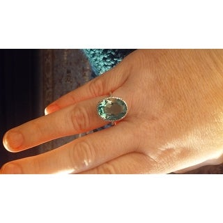 8 TGW Oval Shape Green Amethyst and Diamond Ring In Sterling Silver