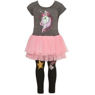 Little Girls Gray Glitter Unicorn Detail Skirted Tunic 2 Pc Legging Set