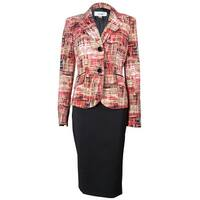 Le Suit Women's Napa Valley Patterned Skirt Suit - poppy multi/black - 4