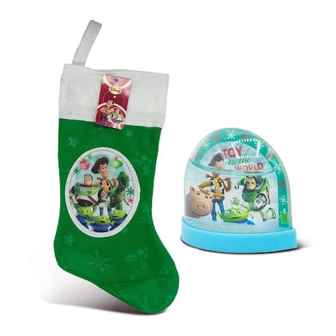 """Toy Story 18"""" Felt Christmas Stocking with Hangtag and Toy Story Mini Plastic Holiday Snowglobe(2 Items)"""