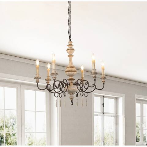 """The Gray Barn Mule Patch 6-light French Country Chandeliers - W30.7""""X H30.3"""""""