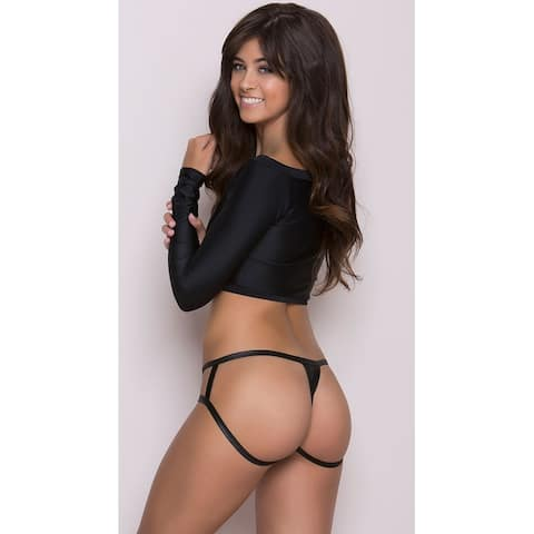 Wet Look Cage Back Thong Panty, Hoty Open Back Thong