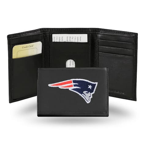 """4"""" Black and Blue NFL New England Patriots Embroidered Trifold Wallet"""
