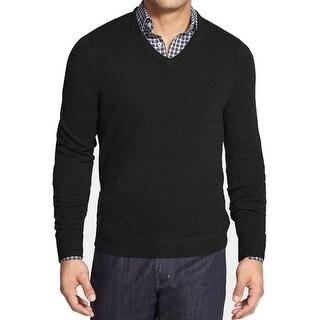 DESIGNER NEW Black Mens Size 2XL Solid V-Neck Cashmere Knit Sweater