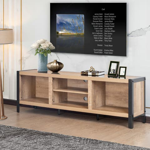 """Mid-Century Modern Entertainment Center 56-inch TV Stand Console with Storage Shelves, Oak Finish - 56.21"""" W x 15.8"""" D x 20.1"""" H"""