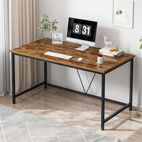 43 inch Home Office Computer Desk Laptop Desk Writing Table, Modern Simple Style, Metal Frame