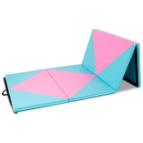Goplus 4'x10'x2'' Thick Folding Panel Gymnastics Mat Gym 3 Color