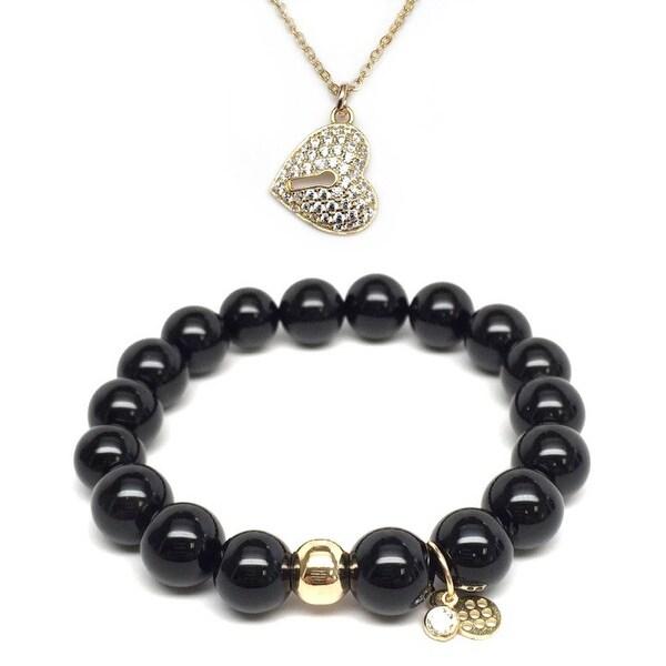 "Black Onyx 7"" Bracelet & CZ Heart Lock Gold Charm Necklace Set"