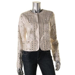 Alice + Olivia Womens Embroidered Mirrored Jacket - L
