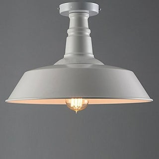 Simple industrial barn ceiling light with white finish