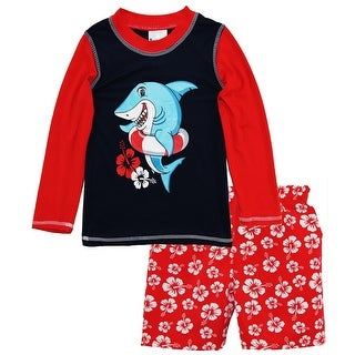 f2bf6169fe Sweet & Soft Baby Boys Shark Long Sleeve Rash Guard Hibiscus Swim Trunk 2Pc  Set