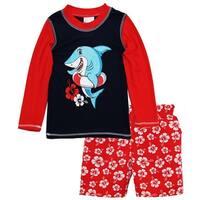 Sweet & Soft Toddler Boys Shark Long Sleeve Rash Guard Hibiscus Swim Trunk Set