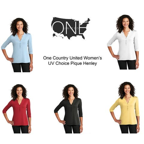 One Country United Ladies 3/4 Sleeve Henley