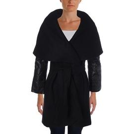 Elie Tahari Womens Wool Leather Cape Coat - XS