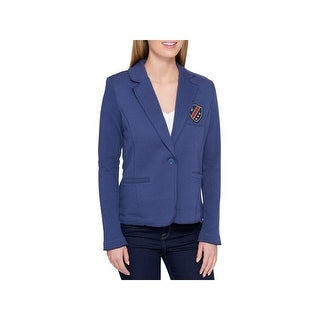 Tommy Hilfiger Womens Blazer Patched One-Button