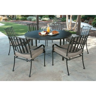 Link to Pacific Casual Columbus Circle 7pc Modern Steel Dining Set, Brown/ Beige Similar Items in Patio Furniture