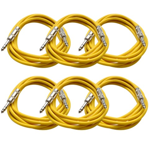 """SEISMIC AUDIO - 6 PACK Yellow 1/4"""" TRS 10' Patch Cables"""