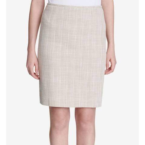 Calvin Klein Women's Skirt Beige Size 6P Petite Straight Pencil Tweed