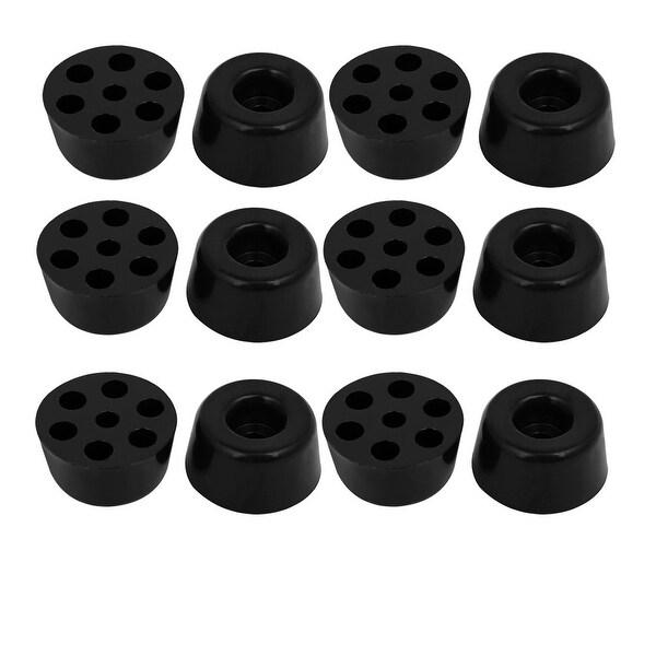 Superieur 20mmx10mm Rubber Cone Shaped Furniture Foot Pads Floor Protectors Black  12pcs