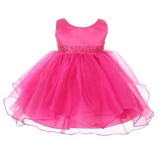 Chic Baby Girls Fuchsia Organza Embellished Waist Flower Girl Dress