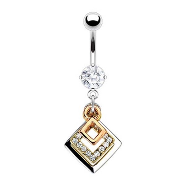 316L Prong-Set Gem Navel Belly Button Ring with Triple Tone Gem Pave Square Dangle