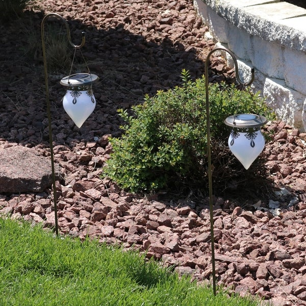 Sunnydaze Rain Drop Outdoor Solar Lights with Shepherd Hooks - Set of 2