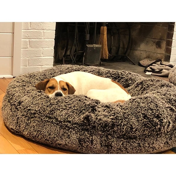 Bessie And Barnie Signature Frosted Willow Luxury Extra Plush Faux Fur Bagel Pet Dog Bed On Free Shipping Today