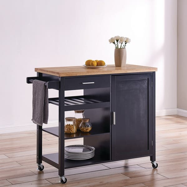 Belleze Wood Top Multi Storage Cabinet Rolling Kitchen Island Table Cart With Wheels Black Standard Overstock 26413286