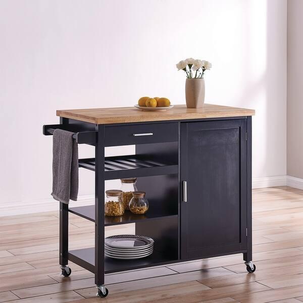 Shop BELLEZE Wood Top Multi-Storage Cabinet Rolling Kitchen ...