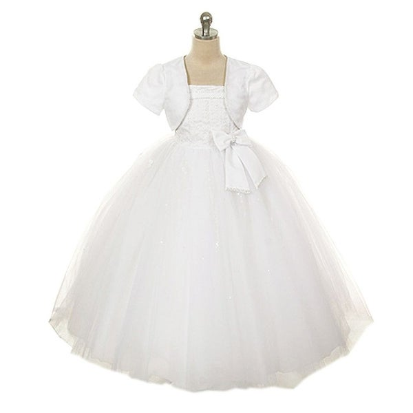 44c4003a7e2 Shop Rain Kids White Sequin Rhinestone Flower Girl Dress Little Girls 2T-16  - Free Shipping Today - Overstock - 18166642