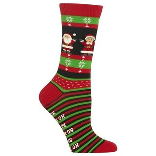 Hot Sox Women's Mr And Mrs Claus Non Skid Socks - Red