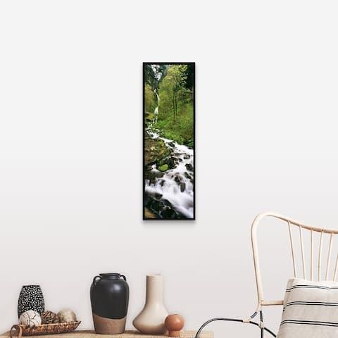 """Wahkeena Waterfall Columbia Gorge OR"" Black Float Frame Canvas Art"