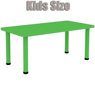 "2xhome - Green - Kids Table - Height Adjustable 21.5"" - 22.5"" Rectangle Child Plastic Activity Table Bright Colorful 24"" x 48"""