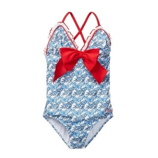 Azul Girls Blue Red The Natural Bow Ruffle One Piece Swimsuit
