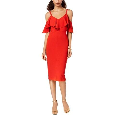 Rachel Rachel Roy Womens Midi Dress Ruffled Cold-Shoulder