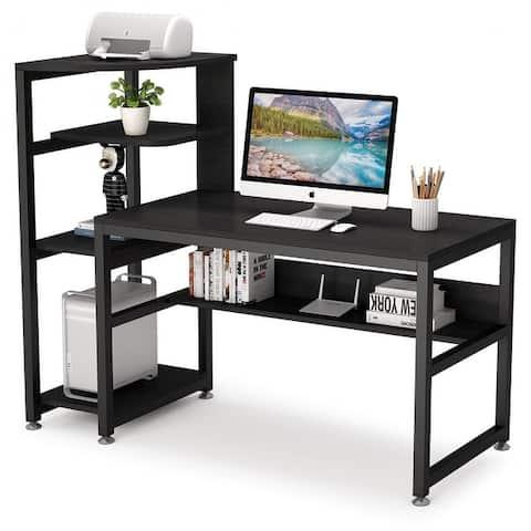 58 inch Large Computer Desk Industrial Home Office Desk with Storage Shelf