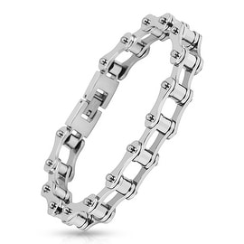 Motorcycle Chain Link 316L Stainless Steel Biker Bracelet (13.3 mm) - 8.75 in