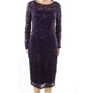 Marina NEW Purple Womens Size 6 Sequin Lace Illusion Sheath Dress