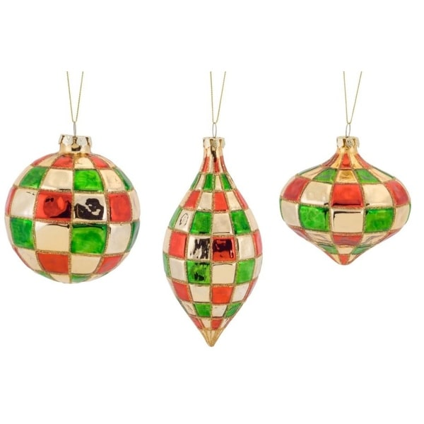 Pack of 6 Decorative Glass Checkered Style Ornament - GOLD
