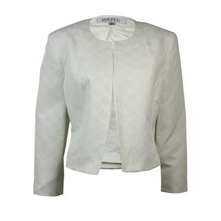 Kasper Women's Open Front Circle Jacquard Blazer - White
