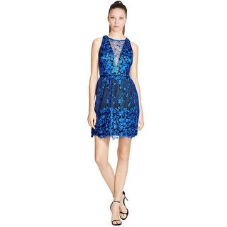 Aqua Sleeveless Illusion Neck Floral Lace Cocktail Party Dress - 6